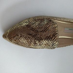 Brand New Gold faux snake flats